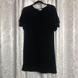 Black ruffle sleeve T-shirt dress